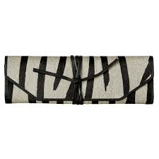 Bristow Black White ZebraPrint Travel Jewellery Roll OKA Europe