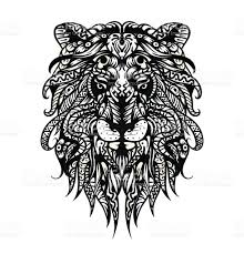 Patterned Lion Head Adult Coloring Page T Shirt Bag Postcard