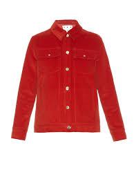 trademark point collar corduroy jacket in red lyst