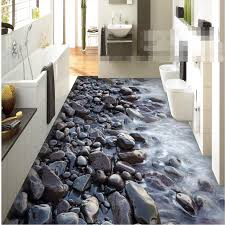 Floor Mural HD Black Stone Coast Waterproof Bathroom Kitchen Balcony PVC Wall Paper Self Sticker