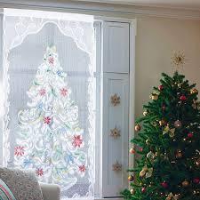213cm X 101cm Rideaux De Fenêtre Décoration Dentelle Sapin De Noël