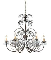 Fancy Contemporary 6 Light Chandelier With Crystal Chrome