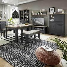komplett wohnzimmer esszimmer möbel set wohnwand in grau