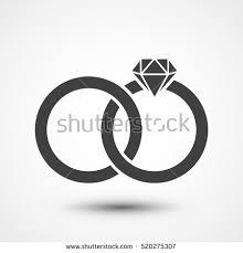 Two bonded wedding rings Marriage icon Diamond Couple wedding anniversary Bride jewelry