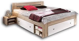 stella trading stefan doppelbett bettanlage 140 x 200 cm mit 2x nachtkommoden schlafzimmer komplett set in eiche san remo optik weiß 145 x 86 x