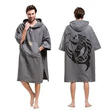 HITURBO Adult Changing Robe Towel Poncho With Hood Sleeve Pocket For Surfing Swimming Wetsuit