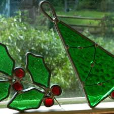 Pair Of Vintage Stained Glass Christmas Ornaments Or Suncatchers