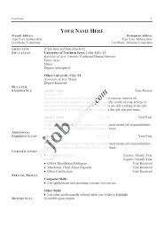 Resume Template With No Work Experience To High School Student Format