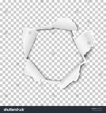 Torn Hole In The Sheet Of Paper On A Transparent Background Vector Template Design