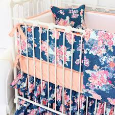 Navy And Coral Crib Bedding by Charlie U0027s Coral U0026 Navy Floral Baby Bedding Caden Lane