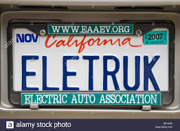 ELETRUK' (Electric Truck) License Plate On An Electric Vehicle With ...