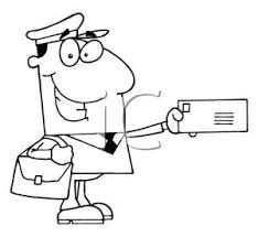 A Black and White Cartoon of a Mail Carrier Delivering Mail Royalty Free Clipart Picture