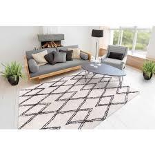 hochflor teppich shaggy berber look rauten zacken wohnzimmer creme weiß