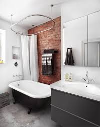 Bathroom: Black And White Bathrooms With Exposed Brick Walls - 19 ... 47 Rustic Bathroom Decor Ideas Modern Designs 25 Beautiful All White Decoration Which Will Improve 27 Elegant To Inspire Your Home On Trend Grey Bigbathroomshop Making A More Colorful Hgtv Trendy Black And Tile Aricherlife 33 Master 2019 Photos 23 New And Tiles In A Small Plan Decorating Pictures Of Fniture Ikea That Never Go Out Of Style