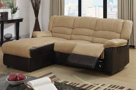 Poundex 3pc Sectional Sofa Set by 2 Pc Greenbrooke Collection 2 Tone Hazelnut Microfiber And Brown