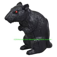 Motion Activated Outdoor Halloween Decorations by Motion Sensor Sensing Mini Black Squeaking Rat Rodent Sounds
