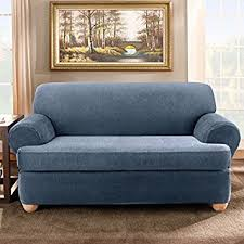 amazon com sure fit 2 piece stretch stripe t cushion sofa