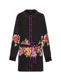 pre fall collection woman long silk shirt with belt and piping etro