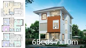 100 Thai Modern House Design Plan 7x10m With 6 Bedrooms Style