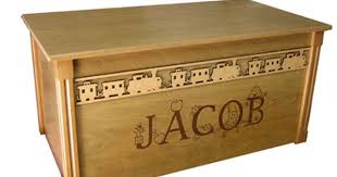 oak wooden toy box with border and engraved name wooden toy
