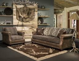 Rustic Living Room Design With Brown Leather Sofa By Marshfield Furniture Shag Rugs