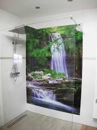 dusche mit motiv wasserfall duschrückwand dusche