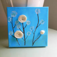 Original Blue Canvas 3D Flowers On Girl Room Decor 8x8 Acrylic Painting