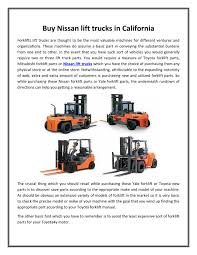 100 Nissan Lift Trucks PPT Buy Lift Trucks In California PowerPoint Presentation