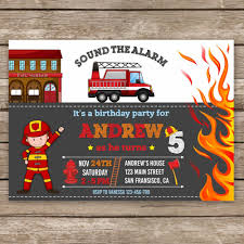 Fire Truck Birthday Invitation Firefighter Invitation Fire | Etsy