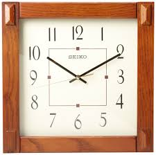 Alluring Square Walnut Wooden Wall Clock For Contemporary Living Room Decor