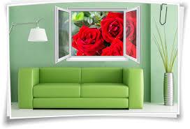 wandtattoo wandbild fenster blumen wohnzimmer esszimmer küche deko