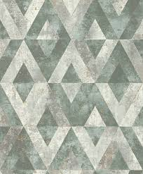 tapete vlies dreiecke grün grau metallic rasch 535501