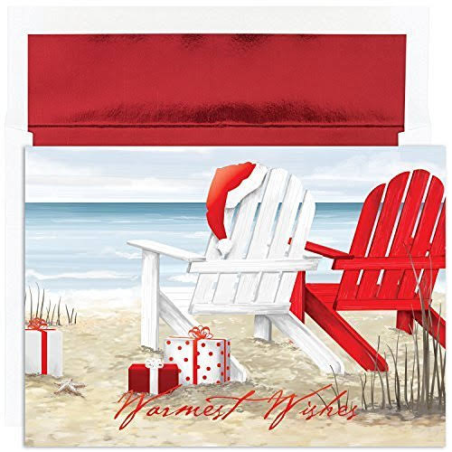Masterpiece Studios Warmest Wishes Beach Chairs Greetings, 18 Cards/Foil Lined Envelopes (870600)