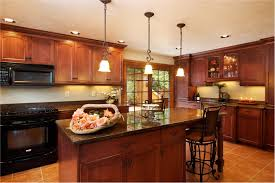 rustic island lighting design for kitchen with black chairs and