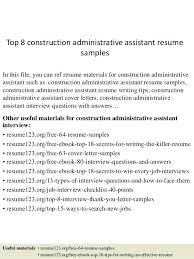 Top 8 Construction Administrative Assistant Resume Samples In This File You Can Ref Materials Admin Sample