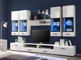 wohnwand attac 4 hochglanz weiss inklusive blaue led beleuchtung