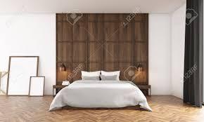 schlafzimmer mit großem fenster und holzwand poster in der nähe bett stehen big und bequemes bett in der mitte 3d übertragen attrappe lehrmodell