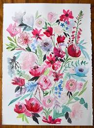 Adult Coloring Book Design Originals Happy Campers See More Watercolor Floral Blossom Painting Original Hand Painted By