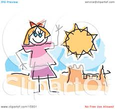 Childlike Drawing Of A Little Girl Waving And Playing By Sandcastle On Sunny Beach Clipart Illustration Andy Nortnik