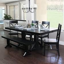 Antique Black Wood Dining Kitchen Set