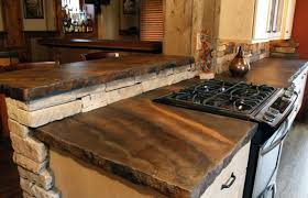 Chic Design Rustic Kitchen Countertops With Gas Range And Custom Concrete