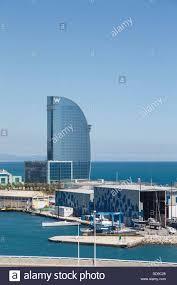 100 W Hotel Barcelona The In The Harbor In Spain Stock Photo
