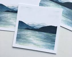 Mountain Range Painting Watercolor Mountains Blue Ridge