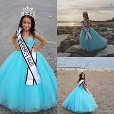 cheap beads little girls pageant dresses light sky blue ball gown