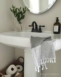 Half Bathroom Ideas With Pedestal Sink by Our Powder Room Crazy Wonderful