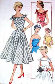 Vintage INFINITE 1950s Dress Pattern Strapless Low V Bateau Cuffed Neck Shoulder Ties Flared Skirt 1