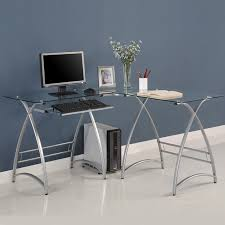 Walker Edison 3 Piece Contemporary Desk Instructions by Walker Edison Alexa L Shaped Glass Computer Desk Silver With Clear