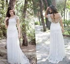 Modest Bohemian Beach Wedding Dresses 2017 Lace Cap Short Sleeves Backless Boho Long Chiffon Country Bridal