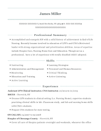 View Resume Assistant LPN Clinical Instructor CNA