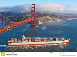 100 Shipping Containers San Francisco Container Ship Under Golden Gate Bridge Stock Image Image Of Lane